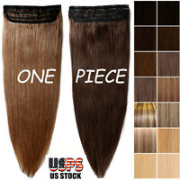 Thick One Piece Clip In 100% Real Remy Human Hair Extensions 3/4 Full Head I351