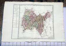 Dépt 01 - XVIII ème Siècle Grande Carte Aquarellée de l'Ain 86 x 58 cm de 1790