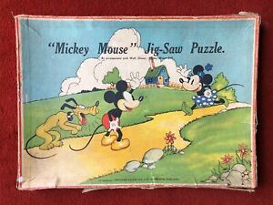 """RARE VINTAGE CHAD VALLEY WOODEN JIGSAW - """"MICKEY MOUSE AND MINNIE"""""""