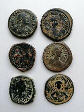 Six Large Bronze Byzantine Follis 300-1400 Ad