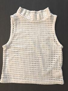 5 Dancewear White Mesh Top Size YXL