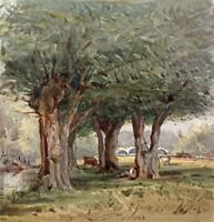 FIGURE & COWS UNDER TREES LANDSCAPE Small Victorian Watercolour Painting c1880