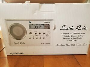 Sangean white PR-D4VW Weather Alert Portable Radio with band with narrowing