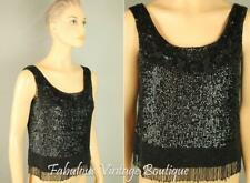 Vtg Pure Wool Knit Sequins Embellished Statement Tank Top Blouse Shell Shirt 10