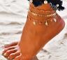 3 pieces Set Women's Sexy Bohemian Leaf Charms  Adjustable Ankle Bracelet Chain