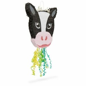 Cow Pull String Pinata for Farm Birthday Party Decorations (16.5 x 13 x 3 In)