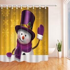 Purple Hat Snowman Golden Snowflake Shower Curtain Bathroom Fabric & 12hooks