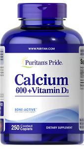 Puritan's Pride Calcium Carbonate 600 mg + Vitamin D 125 IU 250 Coated Caplets