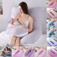 Large bicolor U-shaped Pregnancy Pillow with full body suppo*)