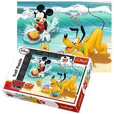 Trefl 30 Piece Kids Unisex Mickey Mouse & Pluto Beach Playing Jigsaw Puzzle NEW