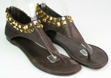 Tory Burch size 8.5M brown leather thong sandal gold studs back zipper gladiator