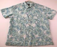Van Heusen Men's Short Sleeve Button Up Shirt XXL 2XL Tropical Colorful Leaves