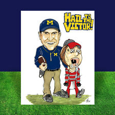 JIM HARBAUGH Michigan Wolverines POSTER ART artist signed, UM football Ann Arbor