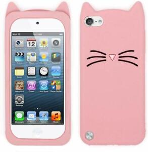 iPod Touch 5th 6th & 7th Gen - SOFT SILICONE RUBBER CASE COVER PINK CAT WHISKERS