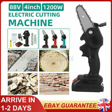 More details for 1200w mini cordless power electric chain saw +battery one-hand wood cutting tool