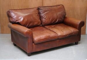 LOVELY LAURA ASHLEY ABINGDON CHESTNUT BROWN LEATHER TWO SEATER SOFA