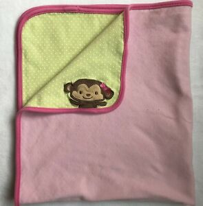 Carters Child of Mine Pink Green Baby Blanket Monkey Polka Dots  Reversible