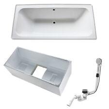 Design Acryl-Badewanne Set weiß 180 x 80 cm inkl Träger und Ablaufgarnitur