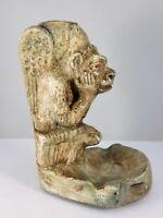 ANCIEN BOUGEOIR / CENDRIER A LA GARGOUILLE EN PLATRE PATINE  HAUT 16 CM  W398B
