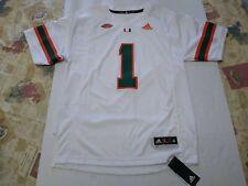 Miami Hurricanes adidas Team Premier Football Jersey ACC #1 - White Men's Medium