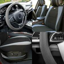 Car Seat Cover Leatherette Buckets Black Gray w/ Gray Steering Cover For Auto