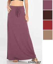 Womens Maxi Skirt Drawstring Waist Pocket Jersey A-Line Long Soft Casual USA