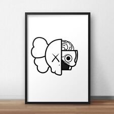 Kaws dissected black and white streetwear wall art A4 poster