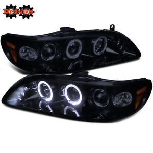 For Honda Accord 98-01 2/4 4cly V6 Smoked Projector Halo LED Headlights Inspire