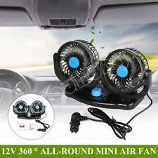 12V Portable Twin Fan For Car Camper Van Travel Plug In Vehicle Fan Dash Mount