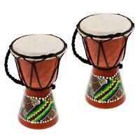 MagiDeal 2 x African Drum Wooden Africa Celebration Dancing Djembe Drum