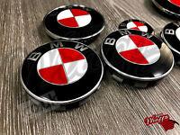 Rosso & BIANCO FIBRA DI CARBONIO adesivi per bmw emblema distintivo COFANO BAULE