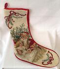 """Vintage Needlepoint Christmas Stocking Santa & Girl Red Velvet Backing 20"""""""
