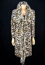 ST JOHN BLACK LABEL Ruffle Coat SIZE 14 Leopard Animal Print Santana Knit Jacket