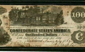"""$100 """"CONFEDERATE"""" 1800'S $100 """"BLACK TRAIN"""" 1800'S $100  """"BLACK TRAIN"""" CRISPY!!"""