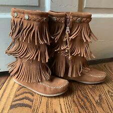 MINNETONKA 3-Layer Fringe Brown Suede Moccasin Boots Youth Girl's 1