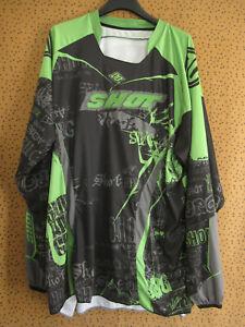 Maillot Motocross Shot Racing Moto Noir et vert cross Vintage Jersey - XL