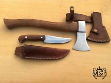 ARC CUSTOM HANDMADE CAMPING SET HATCHET AXE & BUSHCRAFT HUNTING KNIFE & SHEATHS