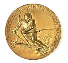 1998 Nagano Olympic Games Japanese Downhill Ski Skiing Medal Coin Japan Olympics