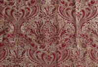 "Tapestry Floral Chenille Upholstery Fabric on Deep Red and Beige - Remnant 58"" W"