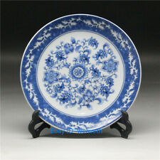 "6""Old Chinese Blue and White Porcelain Painted Flower Plate W Qianlong Mark"