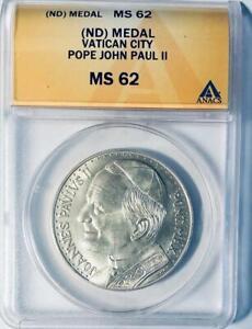 Pope John Paul II Vatican Rome Pieta Silver Medal - ANACS MS-62