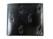 Polo Ralph Lauren Polo Pony Leather Billfold Wallet Black Overall Polo Pony NWT
