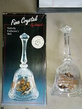 """6Jj89 Christmas Nativity Collector Bell, Lead Crystal, About 10"""" Tall, Very Good"""