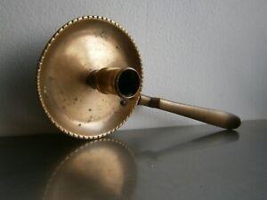 BOUGEOIR A MAIN ANCIEN RAT DE CAVE 18°s BRONZE AIRAIN CHANDELIER DECOR CANNELE