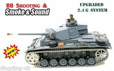 Longues Heng radio control RC Panzer III Pro Tank 1/16 BB Shoot Smoke Sound 2.4 G!!!