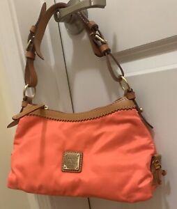 Women's Handbag, Dooney & Bourke, Orange and Brown, Nylon and Leather, NWOT