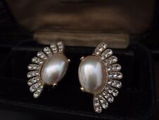 Vintage Large Smooth Pearl & Clear Crystal Fan Shape Clip-On Earrings