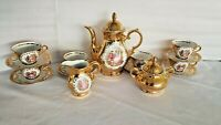 Gold Set Teapot Tea Cups Saucers(6) Plate Porcelain Bavaria Vtg Creamer/Sugar