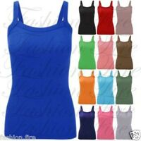 New Womens Ladies & Girls Stretchy Ribbed Vest Top Summer  Rib Strap T Shirt Top