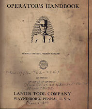 "Landis 12"" Type Lc Hydraulicl Grinding Machine Operator's Handbook & Parts Book"